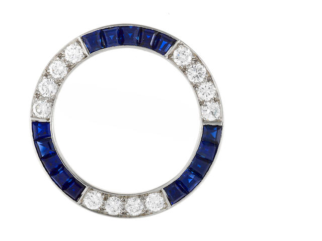A sapphire and diamond circle brooch, Tiffany & Co.