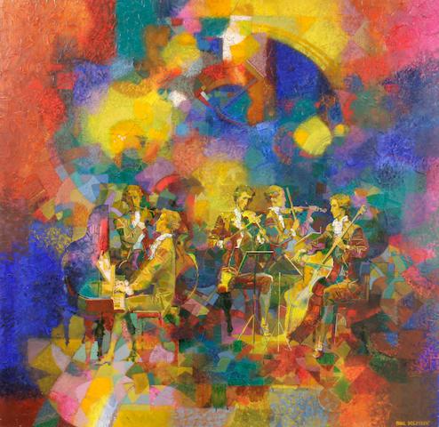 Samal Boldyrev (20th century) The Orchestra 48 x 48in unframed