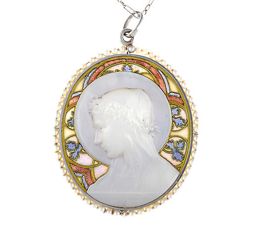 An antique mother-of-pearl, seed pearl and plique-à-jour enamel pendant with chain, Frédéric de Vernon, French,