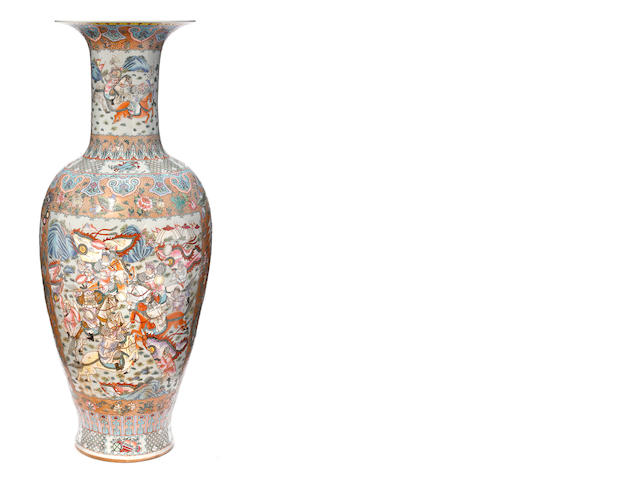 An imposing Chinese famille verte vase  late 19th/early 20th century