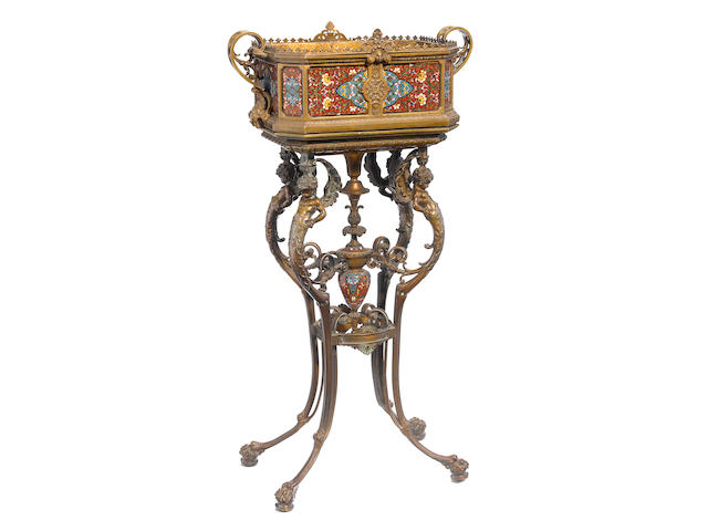 A French gilt bronze and champleve enamel jardiniere on stand