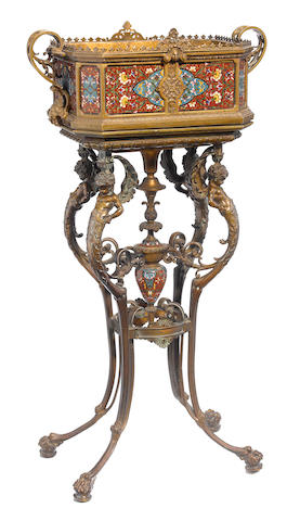 A good quality French gilt bronze and champlevé jardinière on stand  attributed to F. Barbedienne foundry, Paris fourth quarter 19th century
