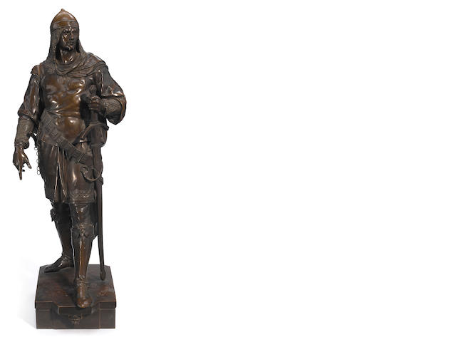 A French bronze figure of a soldier <BR />cast after a model by Emile Louis Picault (French, 1833-1915) <BR />late 19th century