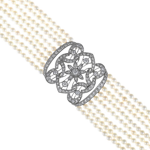 A cultured pearl and diamond eight-row choker necklace