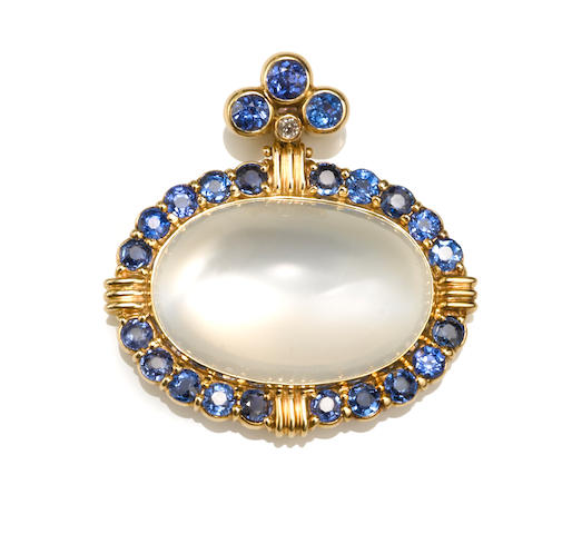 A moonstone, synthetic sapphire and diamond pendant/enhancer