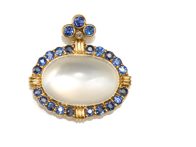 A moonstone, synthetic sapphire and diamond pendant/enhancer