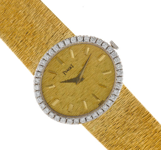 A diamond and eighteen karat gold integral bracelet wristwatch, Paget