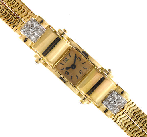 A retro diamond and eighteen karat gold backwind wristwatch, French,
