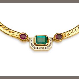 An emerald, ruby and diamond necklace