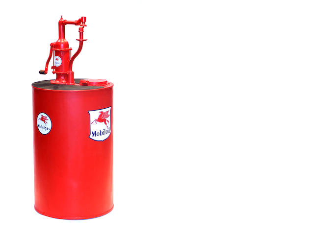 A Mobile oil branded 50 gallon oilier, c.30s,