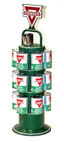 A Conoco 18 oil can island rack,