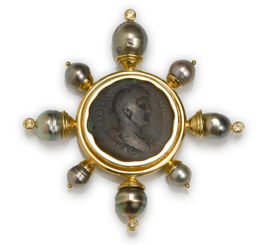 An ancient coin, colored cultured pearl and gem-set brooch, Elizabeth Locke