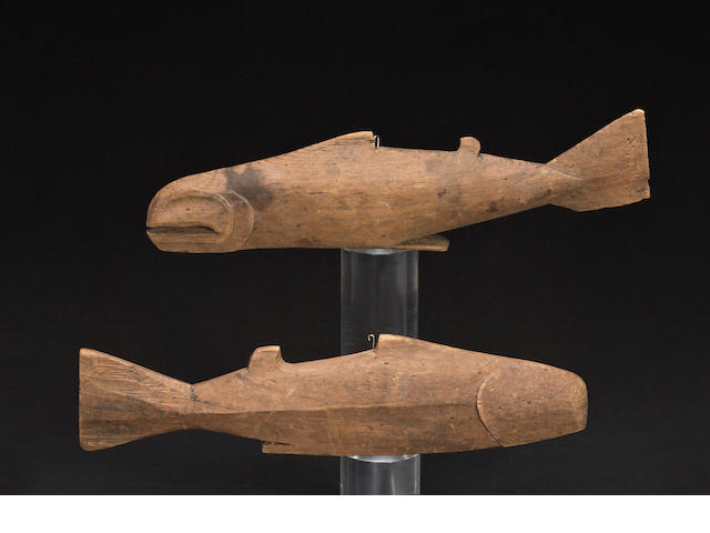 Two Kwakiutl fish effigies