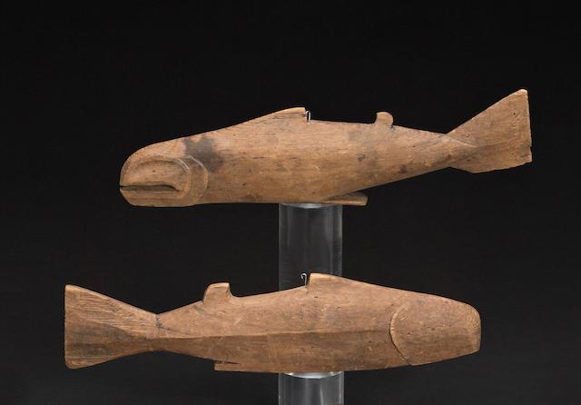Two Kwakiutl fish effigies
