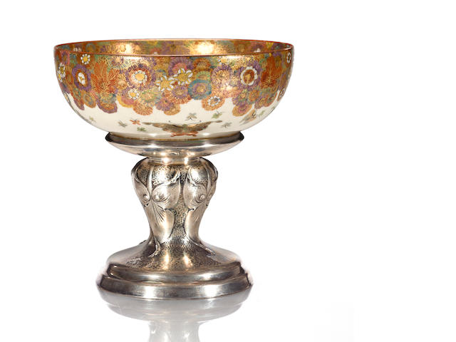 A Satsuma bowl on a silver stand  Late 19th century