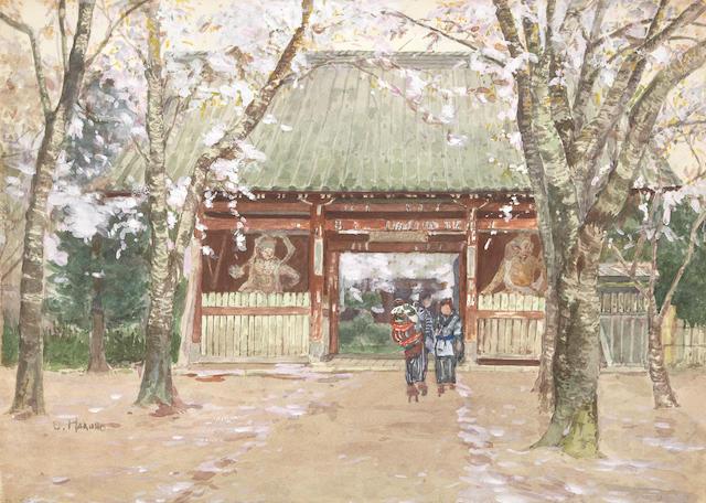 Yoshida Hiroshi (1876-1950) Temple Gate, before 1894