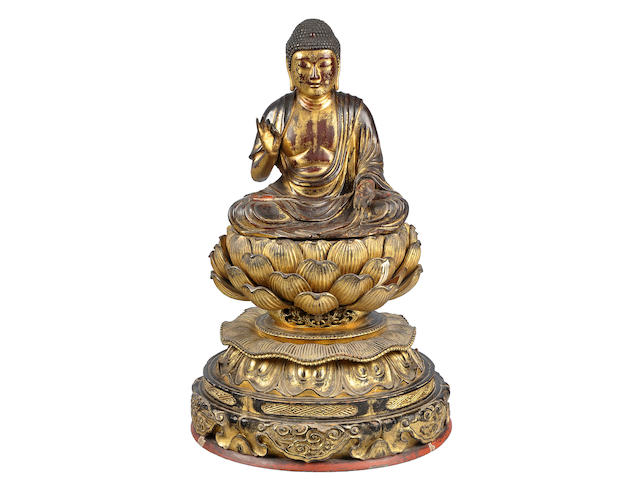 A gilt wood figure of Amida Buddha Edo period, 18th century