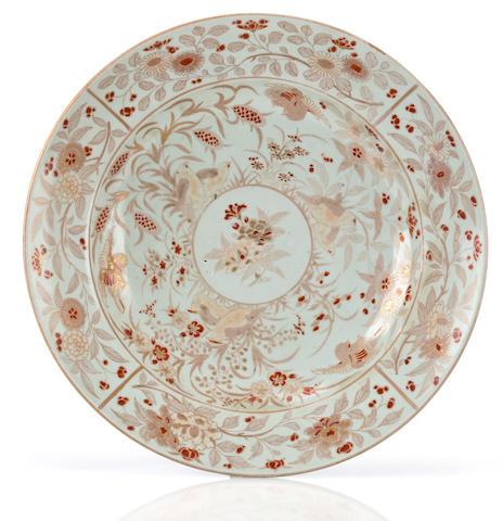 "A large porcelain charger Arita ware, ""Gold"" Imari type, circa 1700"