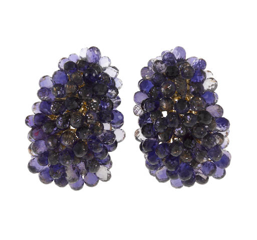 A pair of iolite earrings