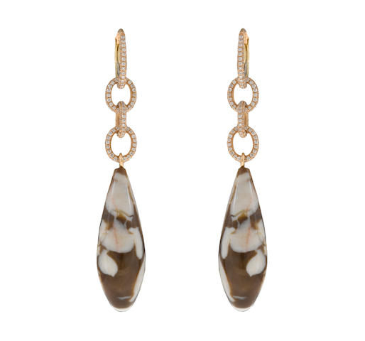 A pair of agate and diamond pendant earrings