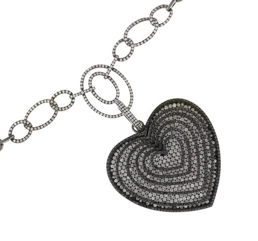 A black diamond and diamond heart motif pendant/enhancer together with necklace