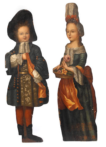 A pair of paint decorated dummy boards