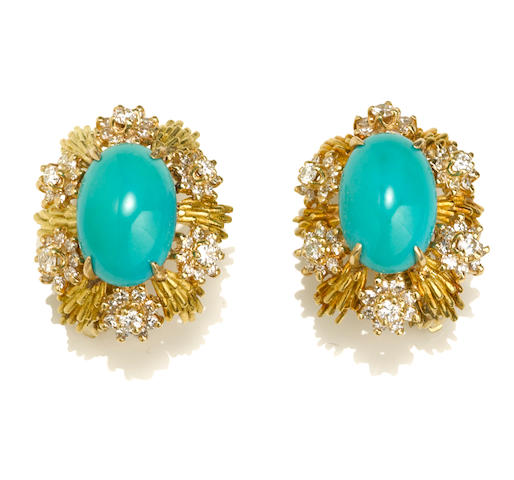 A pair of turquoise and diamond earclips, Tiffany & Co.