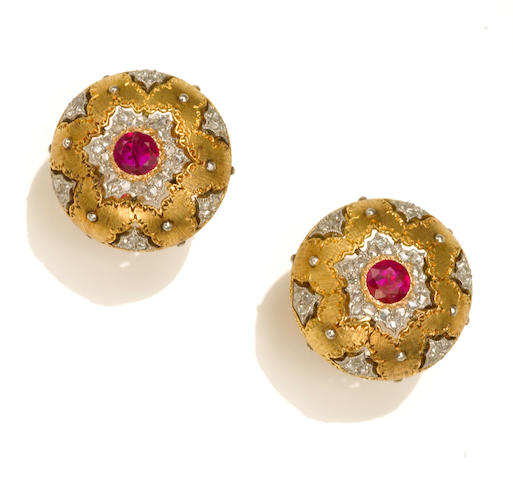 A pair of ruby and diamond button earclips, Buccellati