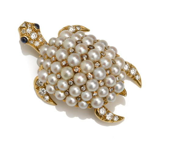 A cultured pearl and diamond turtle brooch, Tiffany & Co., French