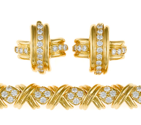"A diamond ""x"" bracelet together with a pair of matching motif earrings, Tiffany & Co."