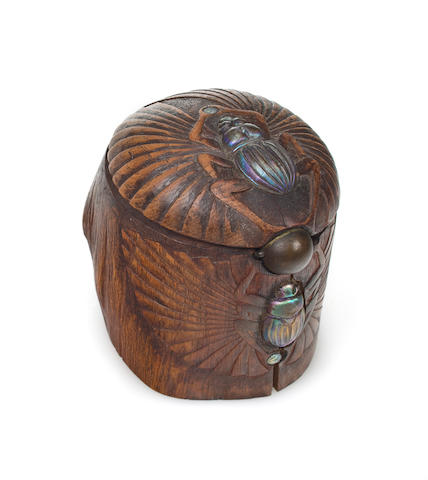 A rare Tiffany Studios richly carved wood, Favrile glass and bronze humidor circa 1910