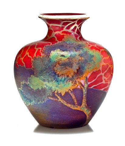 A Zsolnay Eosine-glazed earthenware vase model 5331, circa 1910