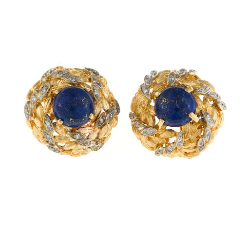 A pair of lapis lazuli and diamond foliate motif bombé earclips
