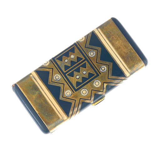 An art deco enamel and gilt-silver compact, French,
