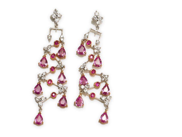 A pair of pink sapphire and diamond chandelier earrings
