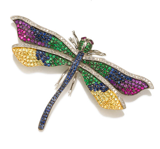A multi-color sapphire, tsavorite garnet and diamond dragonfly brooch