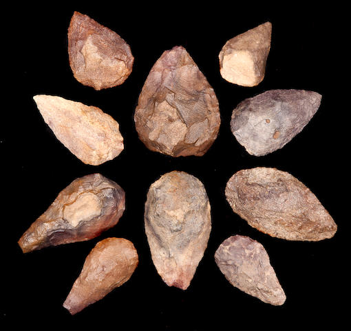 A group of Ten Acheulian Hand Axes