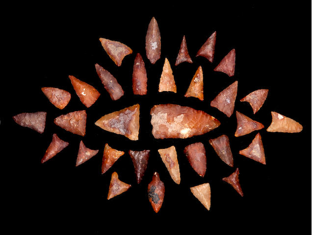 A Collection of 31 Carnelian Points