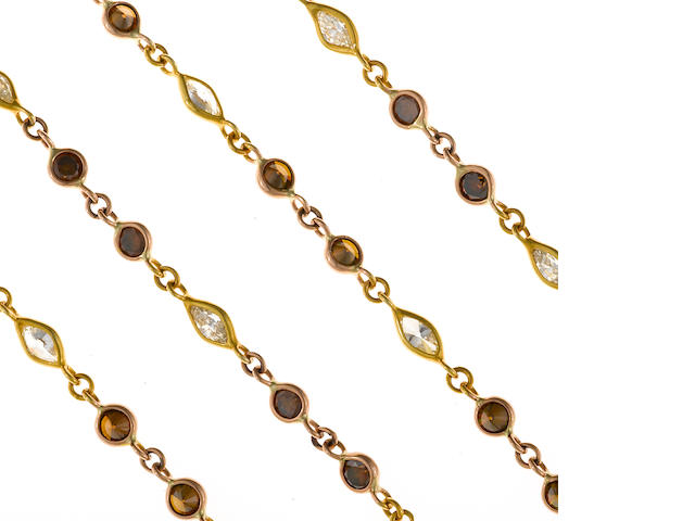 A brown and yellow diamond necklace