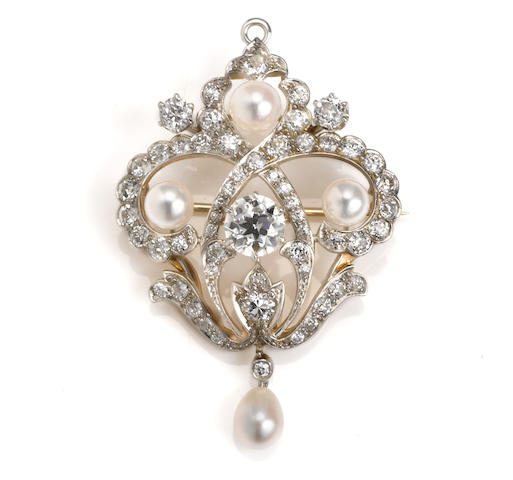 An antique diamond and pearl pendant/brooch,