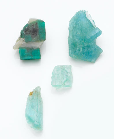 Aquamarine Specimen with Polished Obverse; Together with Two Others and a Polished Emerald Specimen