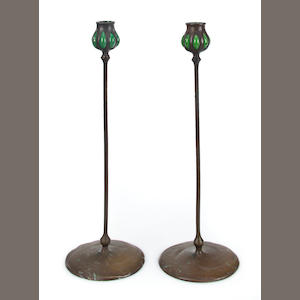 A near pair of Tiffany Studios bronze and Favrile glass candlesticks 1899-1918