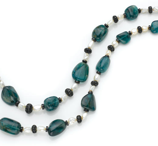 Aquamarine, Pearl and Black Spinel Necklace