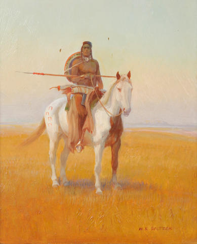 William Steve Seltzer (American, 1955) Inidan on horseback 10 x 8in