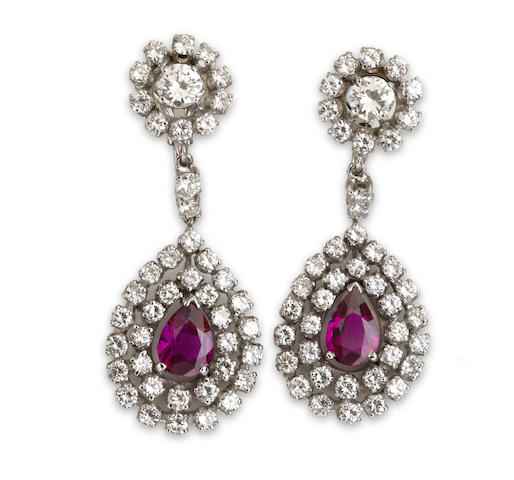 A pair of diamond and pink sapphire pendant earclips