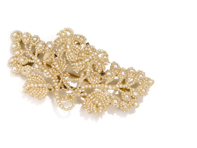An antique seed pearl brooch/hair pin,