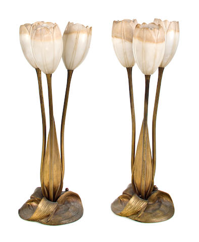 A pair of Albert Cheuret gilt-bronze and carved alabaster table lamps circa 1925