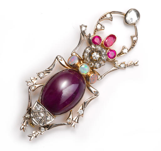 A diamond, purple sapphire, ruby and opal insect brooch, Russian