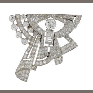A diamond clip brooch