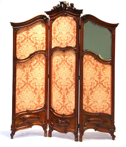 A Louis XV style mahogany dressing screen late 19th century